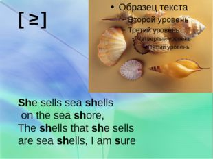 [ ʃ ] She sells sea shells on the sea shore, The shells that she sells are s