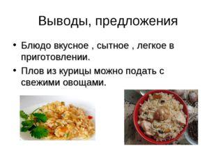 Выводы, предложения Блюдо вкусное , сытное , легкое в приготовлении. Плов из