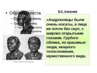 В.П. Алексеев «Андроновцы были очень носаты, а лица их почти без скул, с широ