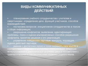 • планирование учебного сотрудничества с учителем и сверстниками: определение