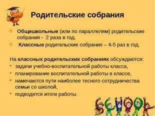 Родительские собрания Общешкольные (или по параллелям) родительские собрания
