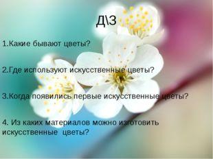 Д\З 1.Какие бывают цветы? 2.Где используют искусственные цветы? 3.Когда появи