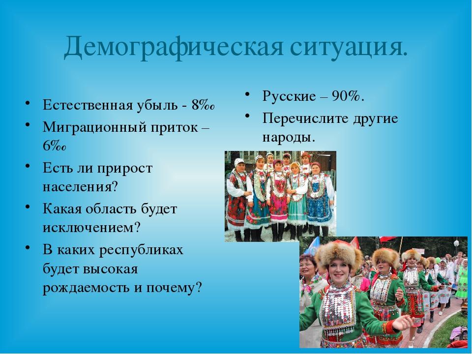 Демографическая ситуация. Русские – 90%. Перечислите другие народы. Естествен...