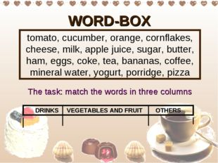 WORD-BOX tomato, cucumber, orange, cornflakes, cheese, milk, apple juice, sug