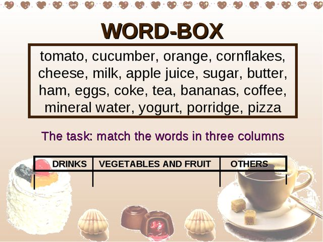 WORD-BOX tomato, cucumber, orange, cornflakes, cheese, milk, apple juice, sug...