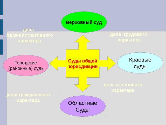 Суды общей юрисдикции Верховный суд Городские (районные) суды Областные Суды...
