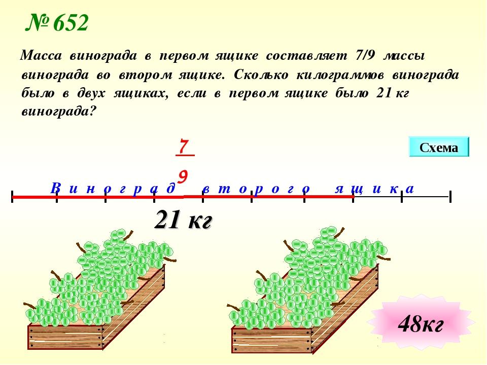 21 кг Схема В и н о г р а д в т о р о г о я щ и к а № 652 Масса винограда в п...