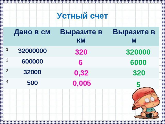 Устный счет 320 6 0,32 0,005 320000 6000 320 5 Дано в смВыразите в кмВыраз...