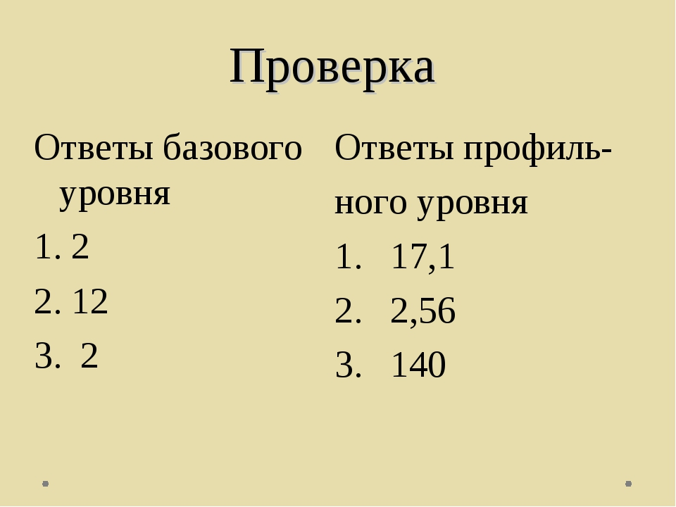 Проверка Ответы профиль- ного уровня 17,1 2,56 140 Ответы базового уровня 2 1...