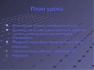 План урока Актуализация опорных знаний (устный счет) Изучение новой темы (сам