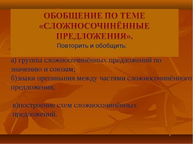 а) группы сложносочинённых предложений по значению и союзам; б)знаки препинан...