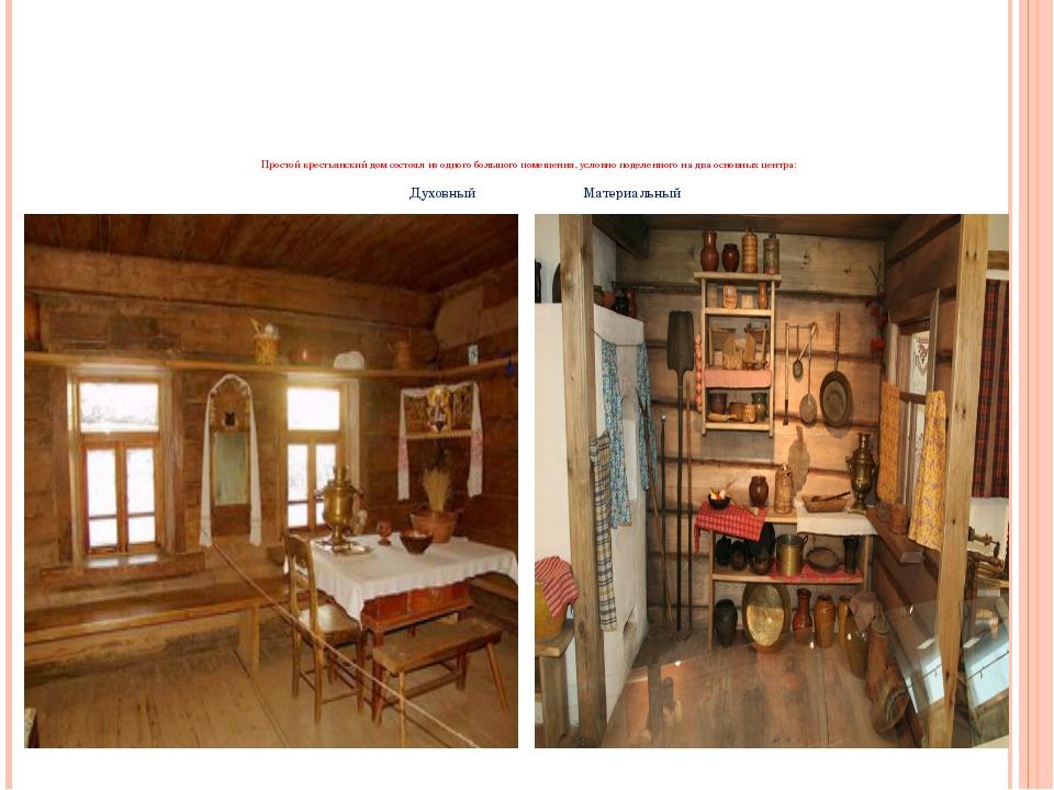 Простой крестьянский дом состоял из одного большого помещения, условно подел...