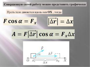 Совершенную силой работу можно представить графически Пусть тело движется вдо