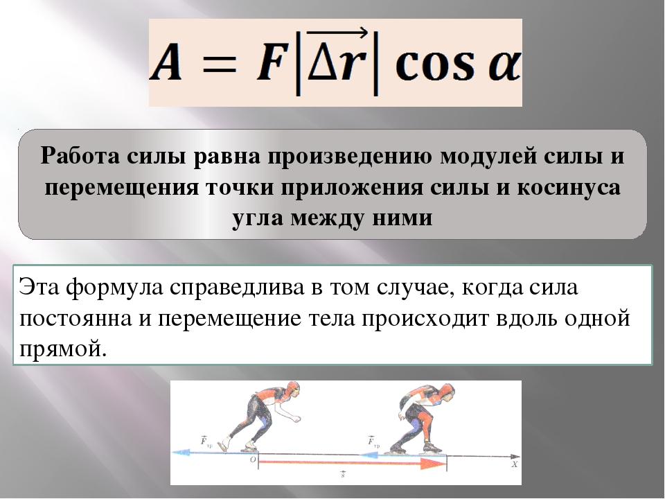 Работа силы равна произведению модулей силы и перемещения точки приложения си...