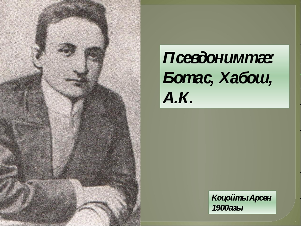 Коцойты Арсен 1900азы Псевдонимтæ: Ботас, Хабош, А.К.