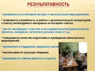 * развивается устойчивый интерес к внеклассным мероприятиям; * появляется по