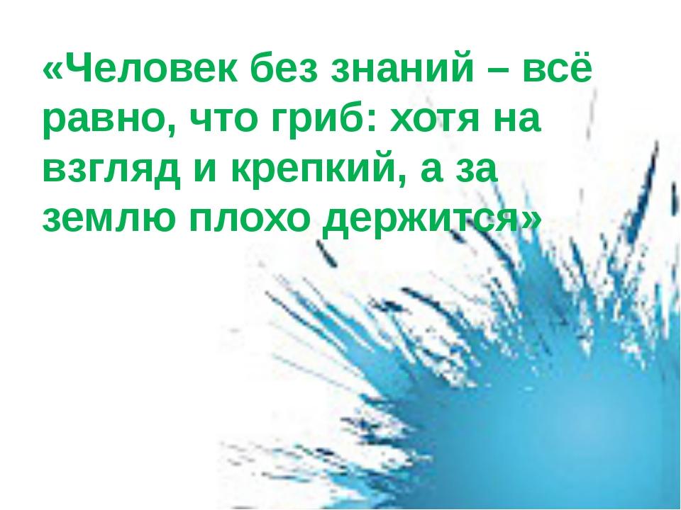 «Человек без знаний – всё равно, что гриб: хотя на взгляд и крепкий, а за зем...