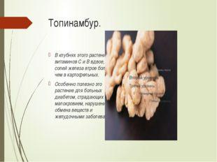 Топинамбур. В клубнях этого растения витаминов С и В вдвое, а солей железа вт