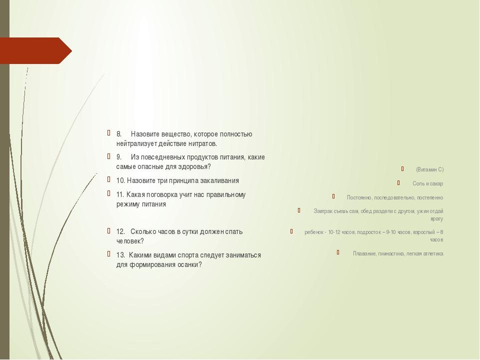 8. Назовите вещество, которое полностью нейтрализует действие нитратов....