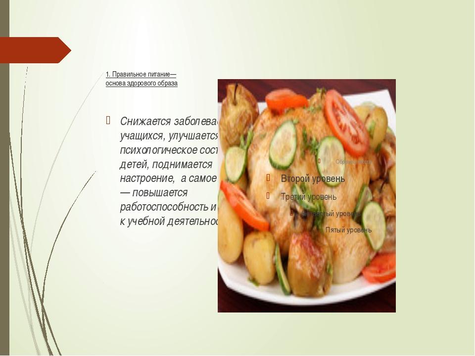 1. Правильное питание— основа здорового образа Снижается заболеваемость учащ...