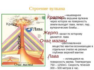 Строение вулкана –чашевидное отверстие на вершине вулкана через которое на по