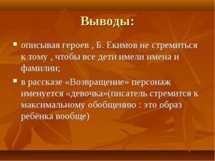 Выводы: описывая героев , Б. Екимов не стремиться к тому , чтобы все дети име