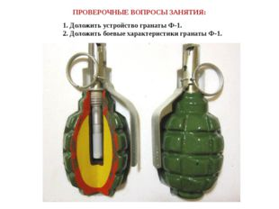ПРОВЕРОЧНЫЕ ВОПРОСЫ ЗАНЯТИЯ: 1. Доложить устройство гранаты Ф-1. 2. Доложить