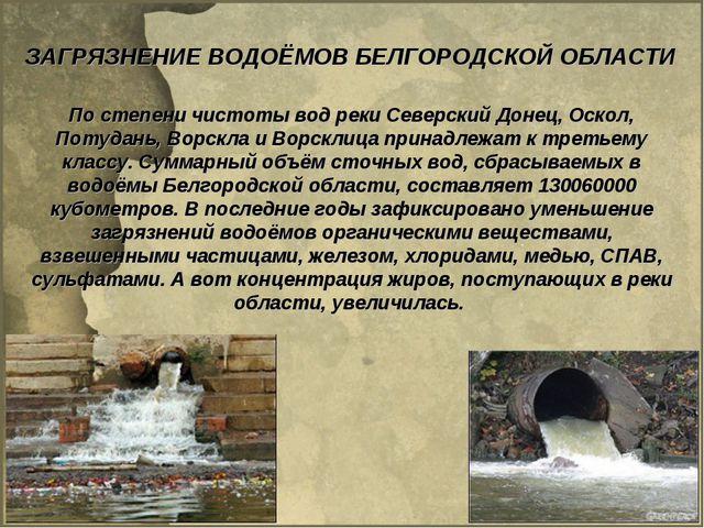 ЗАГРЯЗНЕНИЕ ВОДОЁМОВ БЕЛГОРОДСКОЙ ОБЛАСТИ По степени чистоты вод реки Северск...