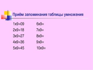 Приём запоминания таблицы умножения 1x9=09 6x9= 2x9=18 7x9= 3x9=27 8x9= 4x9=3