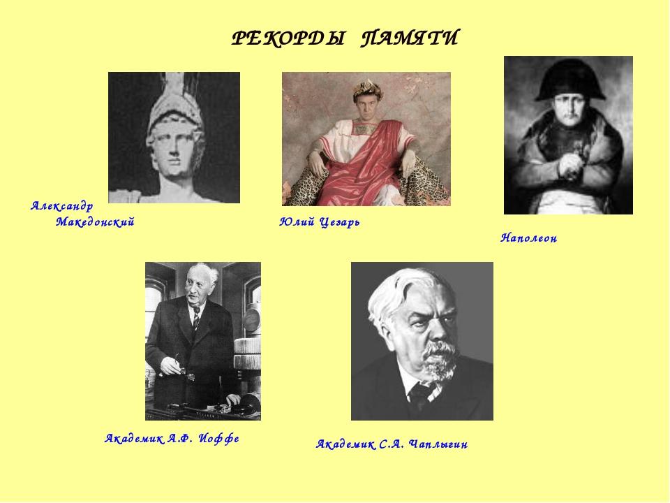 Александр Македонский Юлий Цезарь Наполеон Академик А.Ф. Иоффе Академик С.А....
