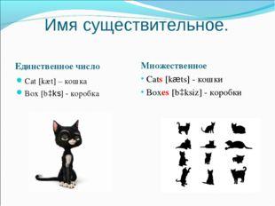 Имя существительное. Единственное число Множественное Cats [kæts] - кошки Box