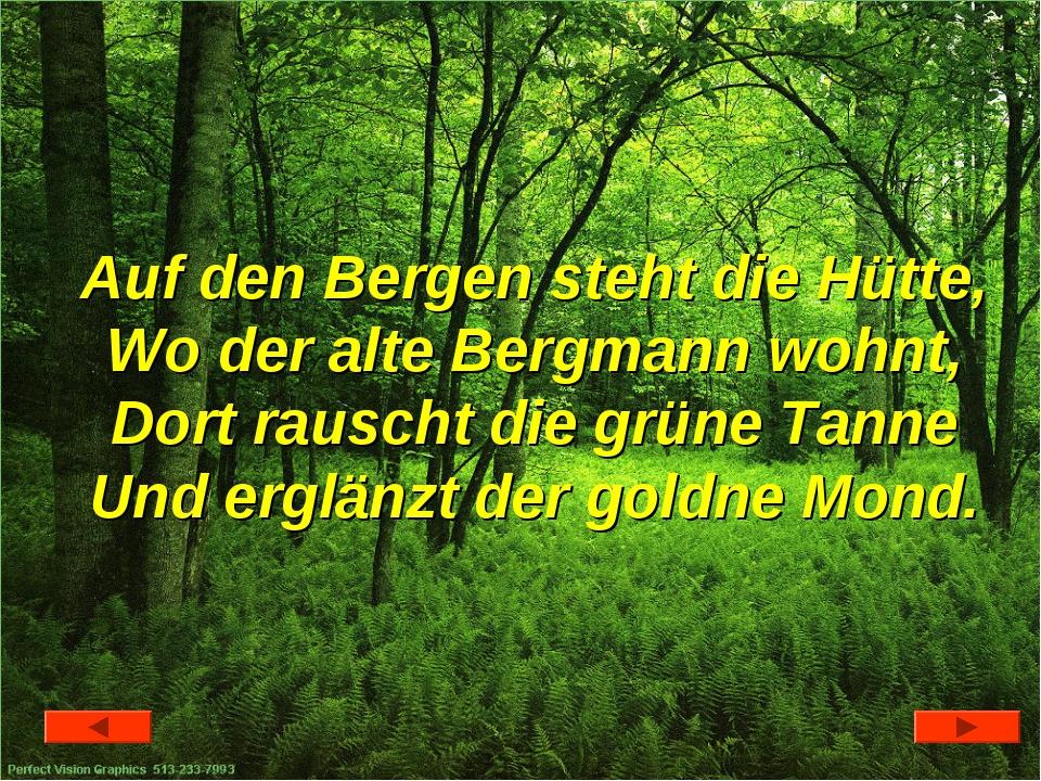 Auf den Bergen steht die Hütte, Wo der alte Bergmann wohnt, Dort rauscht die...