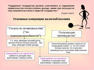 """Основные концепции налогообложения """"Уплата по возможностям"""" (""""по платежеспосо"""