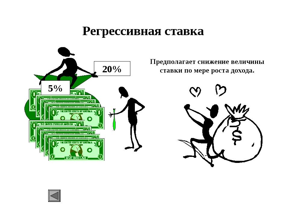 Регрессивная ставка Предполагает снижение величины ставки по мере роста доход...