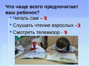 Что чаще всего предпочитает ваш ребенок? Читать сам – 6 Слушать чтение взросл