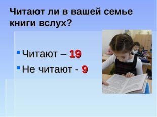 Читают ли в вашей семье книги вслух? Читают – 19 Не читают - 9