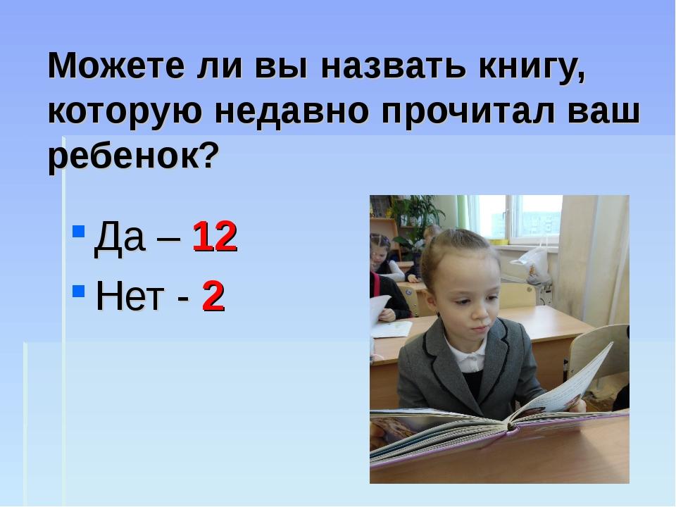 Можете ли вы назвать книгу, которую недавно прочитал ваш ребенок? Да – 12 Нет...