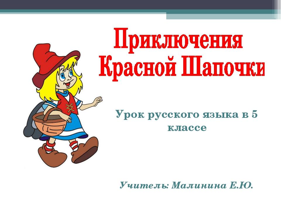 Урок русского языка в 5 классе Учитель: Малинина Е.Ю.