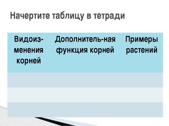 Начертите таблицу в тетради Видоиз-менениякорней Дополнитель-наяфункция корне...