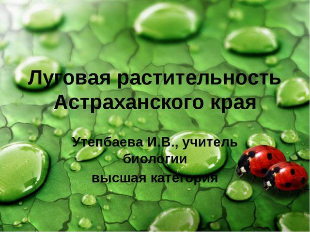 Луговая растительность Астраханского края Утепбаева И.В., учитель биологии вы...