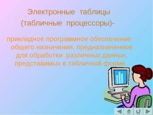 Электронные таблицы (табличные процессоры)- прикладное программное обеспечени