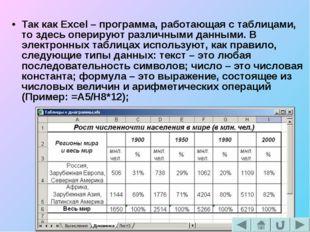 Так как Excel – программа, работающая с таблицами, то здесь оперируют различн