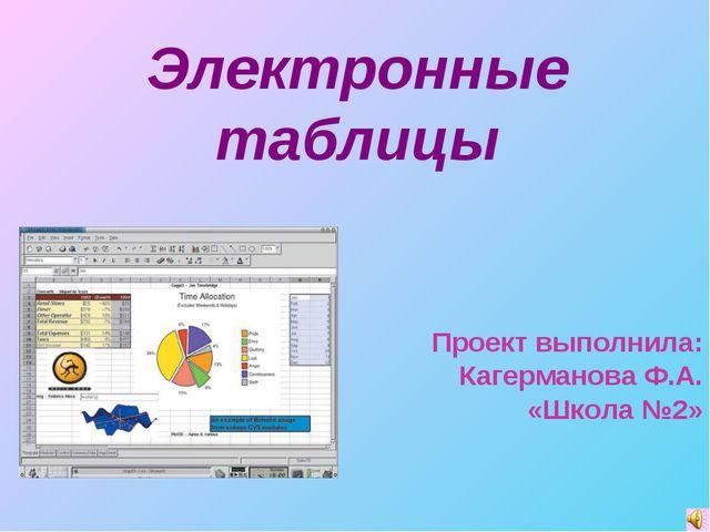 Электронные таблицы Проект выполнила: Кагерманова Ф.А. «Школа №2»