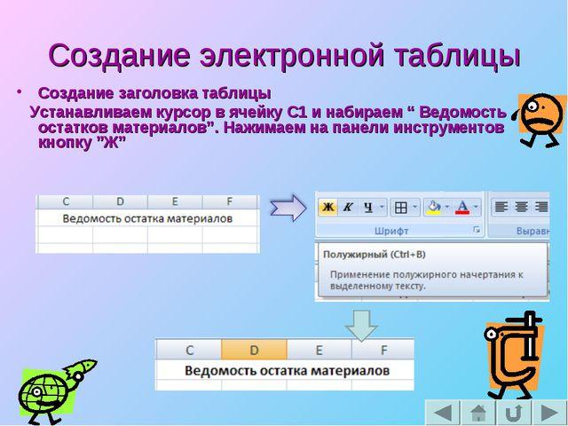 Создание электронной таблицы Создание заголовка таблицы Устанавливаем курсор...