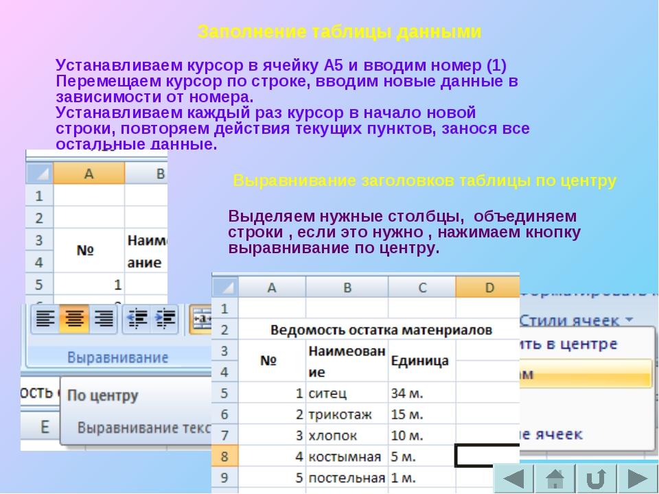 Заполнение таблицы данными Устанавливаем курсор в ячейку А5 и вводим номер (1...