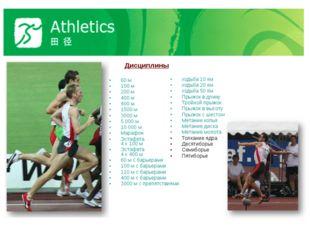 Дисциплины 60 м 100 м 200 м 400 м 800 м 1500 м 3000 м 5 000 м 10 000 м Мараф