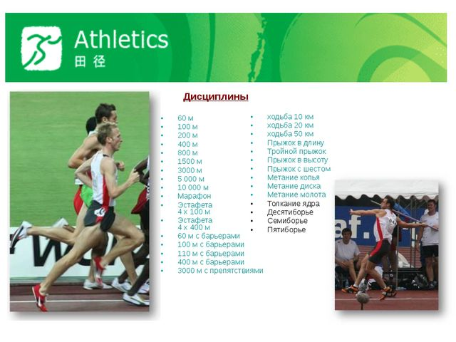 Дисциплины 60 м 100 м 200 м 400 м 800 м 1500 м 3000 м 5 000 м 10 000 м Мараф...