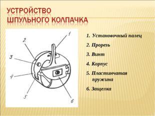 Установочный палец 2. Прорезь 3. Винт 4. Корпус 5. Пластинчатая пружина 6. За
