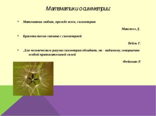 Математики о симметрии: Математик любит, прежде всего, симметрию Максвелл Д.