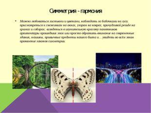 Симметрия - гармония Можно любоваться листьями и цветами, наблюдать за бабочк